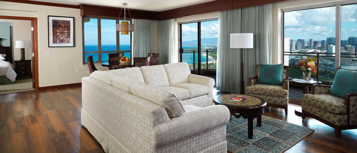 Grand Waikikian by Hilton Grand Vacations Club Penthouse Living Room