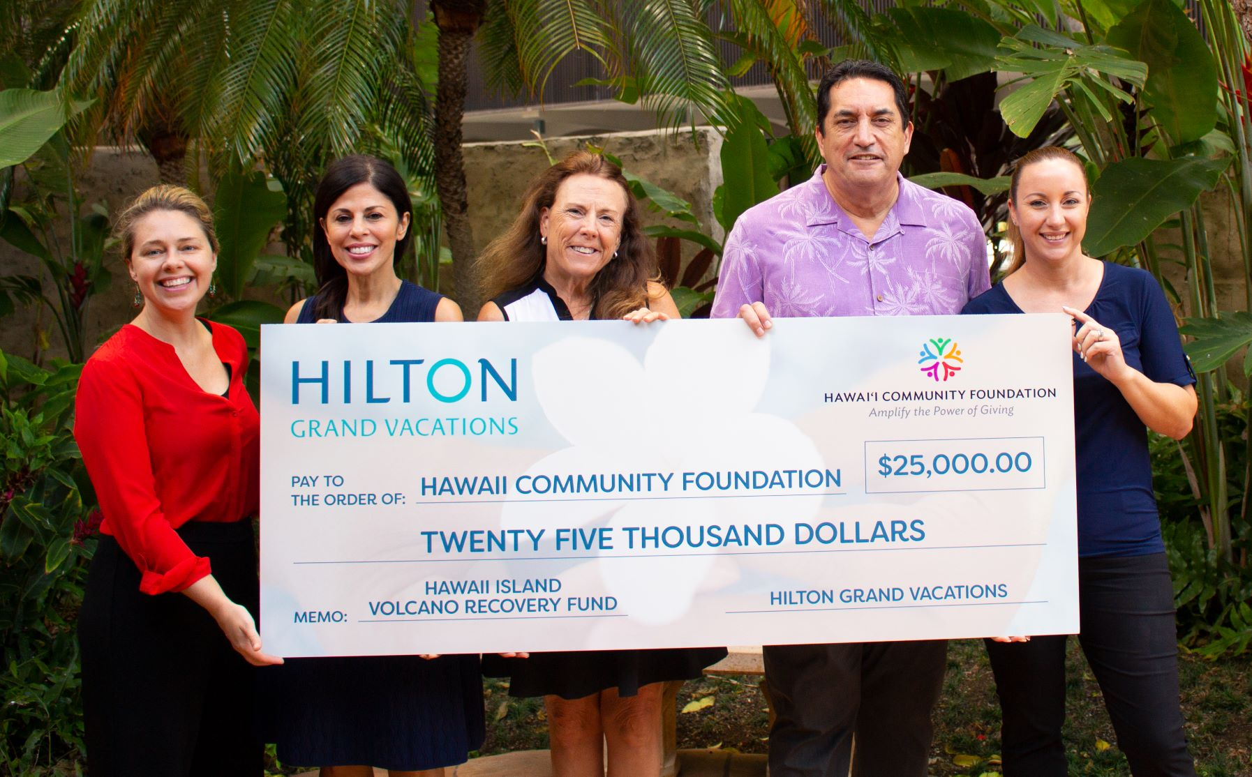 Check Presentation from HGV to the Hawai'i Island Volcano Recovery Fund