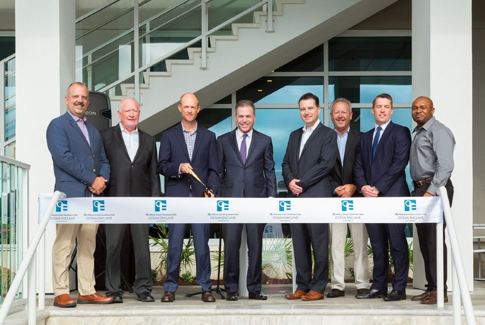 Leaders from Hilton Grand Vacations, Strand Capital Group and the city of Myrtle Beach celerbrate the grand opening of Ocean Enclave by Hilton Grand Vacations Club