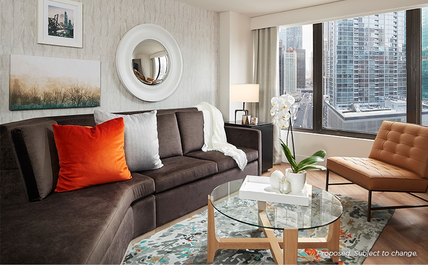 Hilton Grand Vacations Chicago Downtown/Magnificent Mile Living Room Area