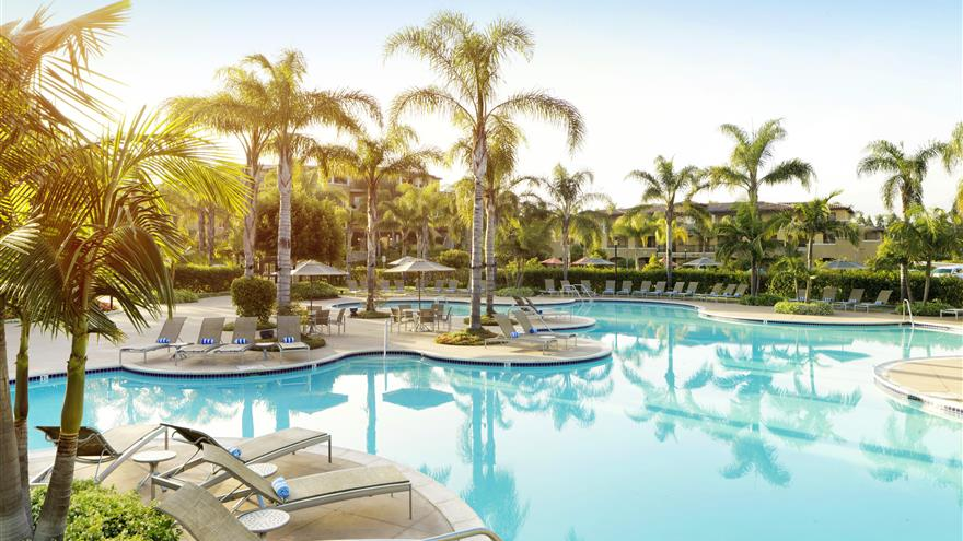 Pool at Hilton Grand Vacations at MarBrisa located in Carlsbad, California.