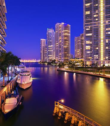Miami canal lined with skyscrapers