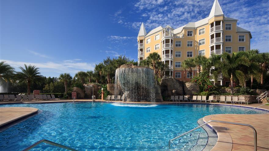 Pool at Hilton Grand Vacations at SeaWorld located in Orlando, Florida.