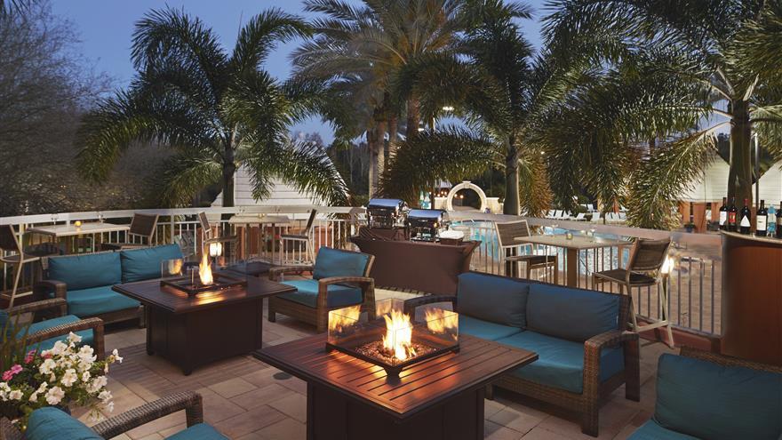Patio at Hilton Grand Vacations at SeaWorld located in Orlando, Florida.