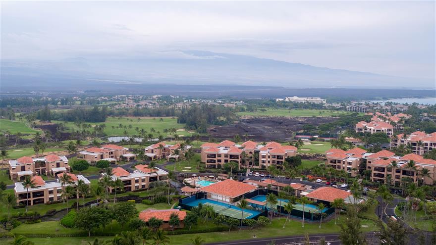 Overhead view of The Bay Club at Waikoloa Beach Resort located on the Big Island, Hawaii.