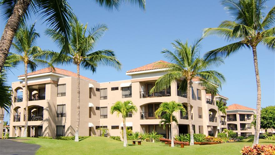 Exterior view of The Bay Club at Waikoloa Beach Resort located on the Big Island, Hawaii.