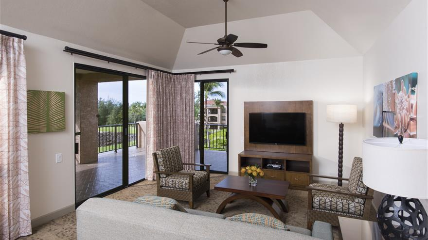 Living room in a suite at The Bay Club at Waikoloa Beach Resort located on the Big Island, Hawaii.