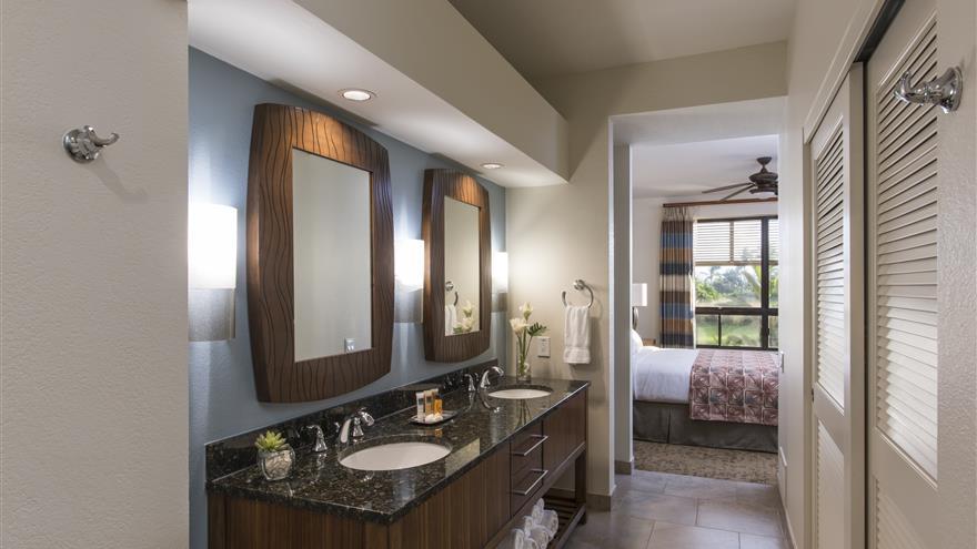 Bathroom at The Bay Club at Waikoloa Beach Resort located on the Big Island, Hawaii.