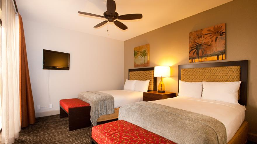 Double bedroom at The Bay Club at Waikoloa Beach Resort located on the Big Island, Hawaii.