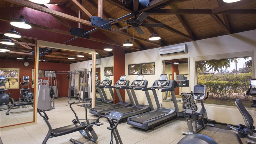 Treadmill, bike machines and other equipment at the fitness center at The Bay Club at Waikoloa Beach Resort located on the Big Island, Hawaii.