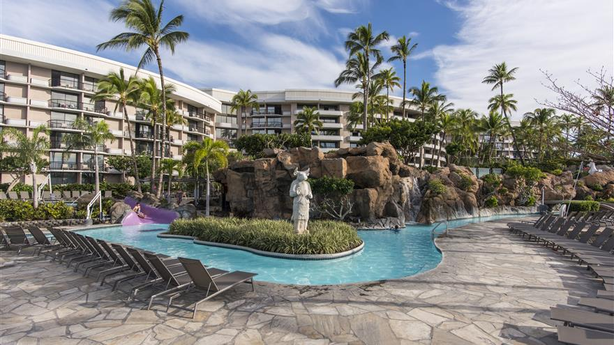 View of courtyard and pool at the Ocean Tower resort in Hawaii
