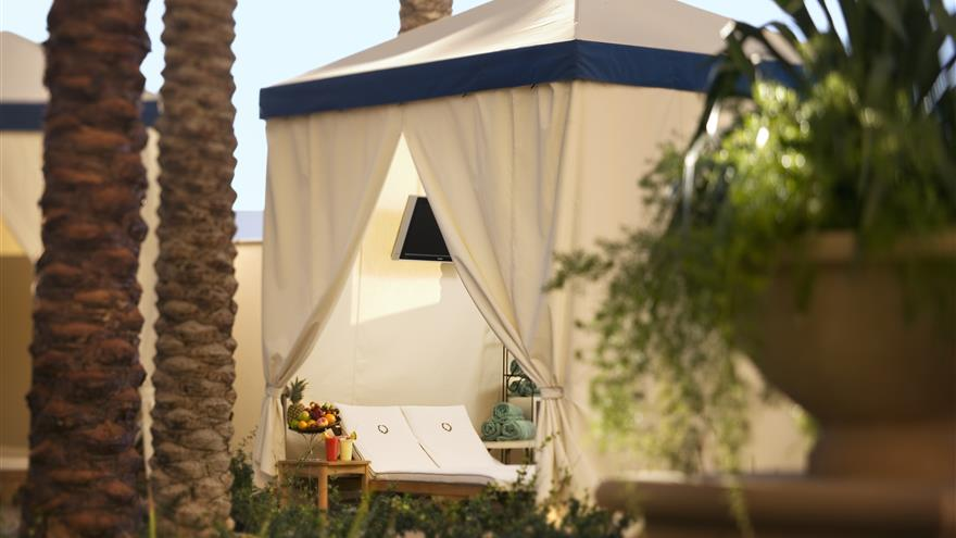 Private pool-side cabana at Hilton Grand Vacations on the Boulevard located at Las Vegas, Nevada.