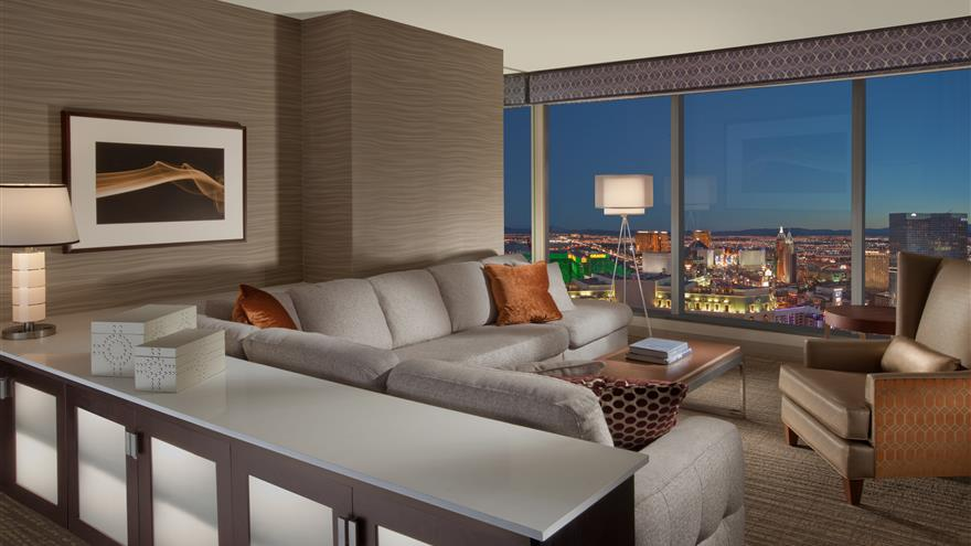 Living room of suite at Elara by Hilton Grand Vacations located in Las Vegas, Nevada.