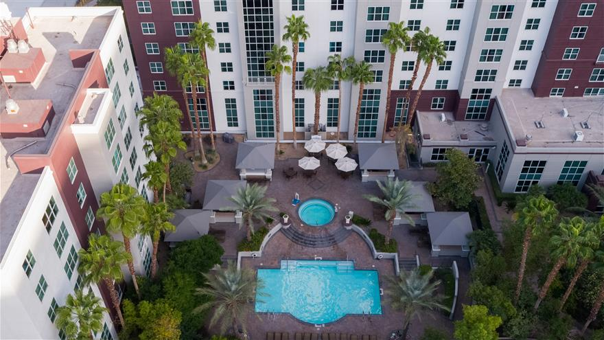 Overhead view of pool and courtyard at Hilton Grand Vacations at the Flamingo located at Las Vegas, Nevada.