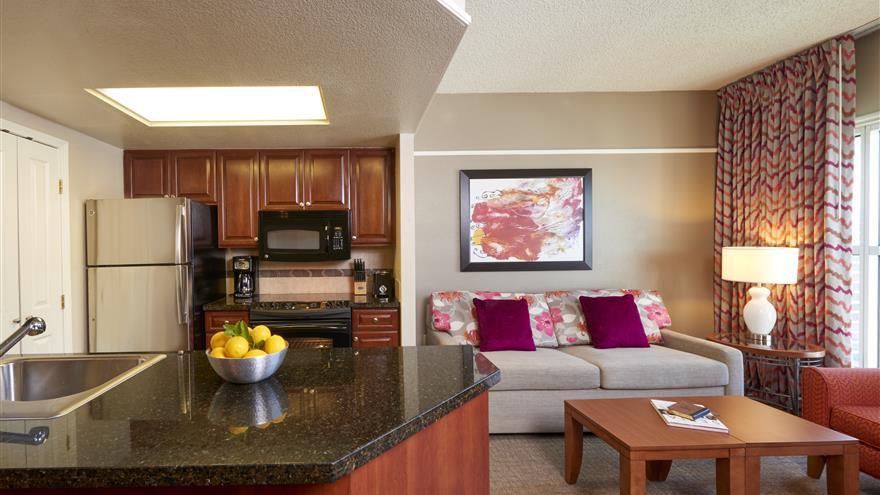 Kitchen and living area at Hilton Grand Vacations at the Flamingo located at Las Vegas, Nevada.