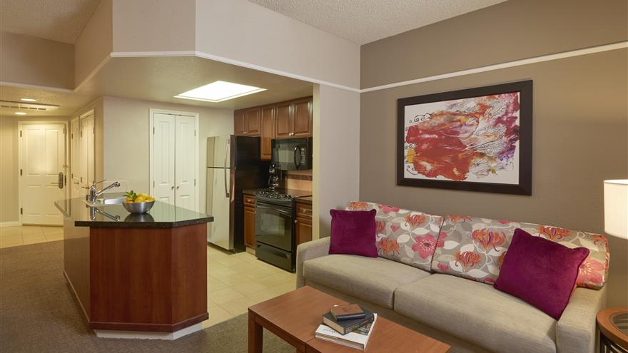 Living area and kitchen at Hilton Grand Vacations at the Flamingo located at Las Vegas, Nevada.