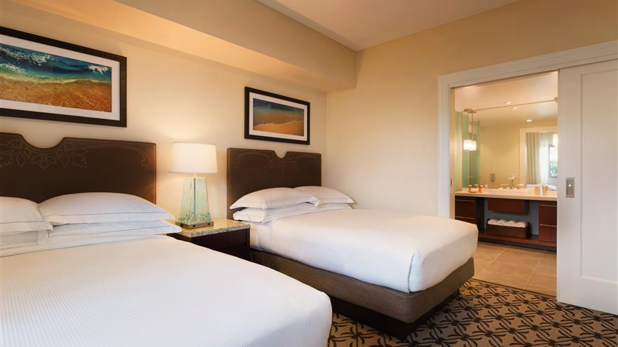 Double bedroom at Kings' Land by Hilton Grand Vacations located on the Big Island of Hawaii.