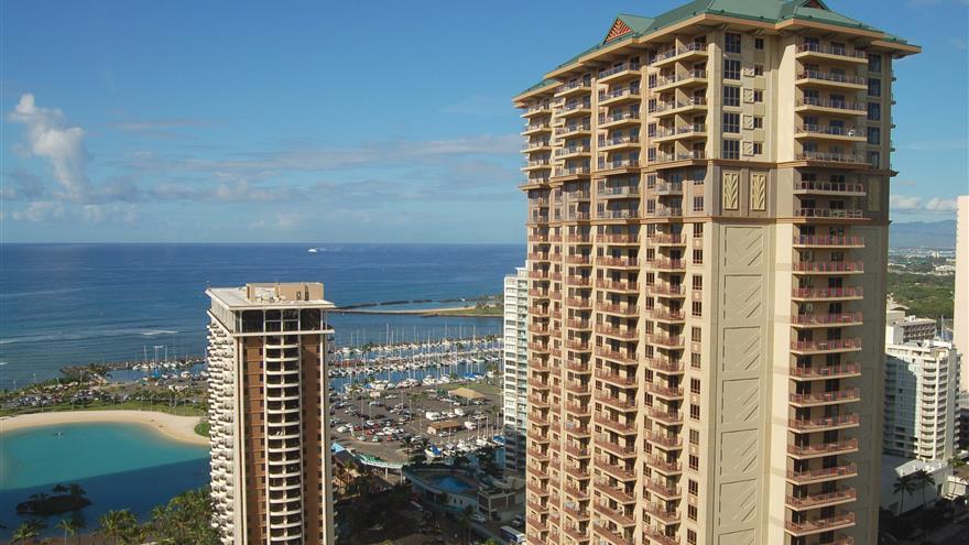 Balcony view of Grand Waikikian by Hilton Grand Vacations located at Waikiki Beach, Oahu, Hawaii.