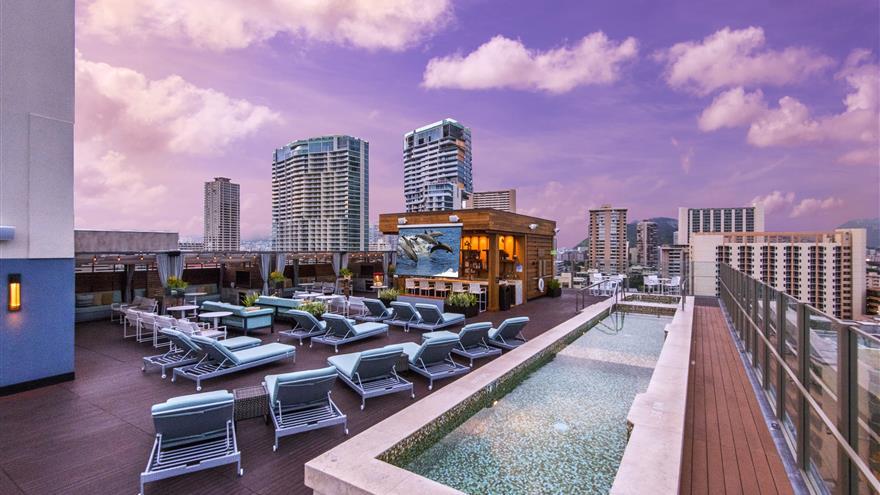 Rooftop pool in Hawaii