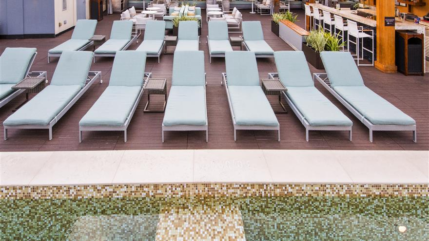 Lounge chairs by the pool