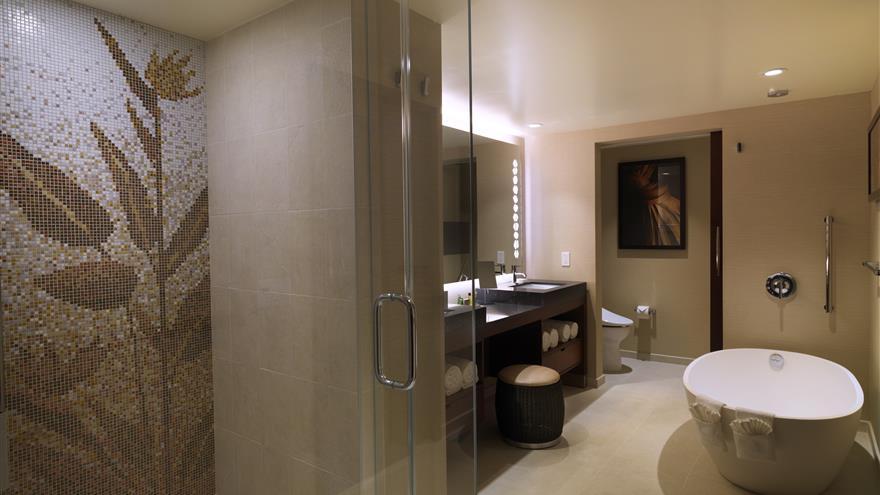 Bathroom at Hokulani Waikiki by Hilton Grand Vacations located at Waikiki Beach, Oahu.