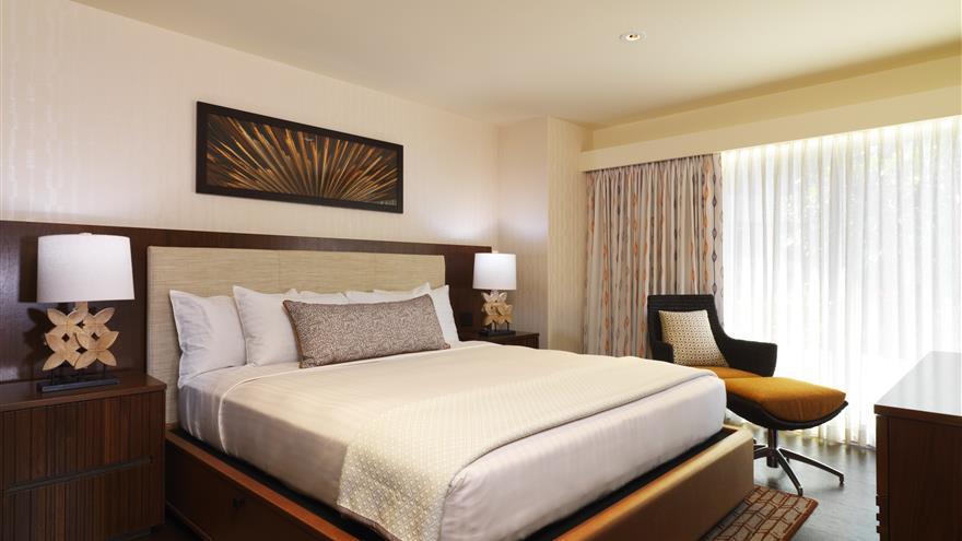 Bedroom at Hokulani Waikiki by Hilton Grand Vacations located at Waikiki Beach, Oahu.