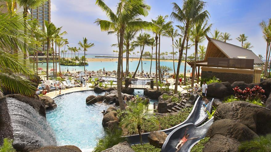 Pool and waterslide at Lagoon Tower by Hilton Grand Vacations at Oahu, Hawaii.