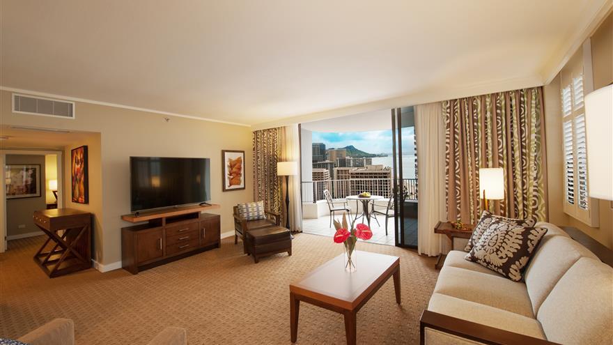 Living area at Lagoon Tower by Hilton Grand Vacations at Oahu, Hawaii.