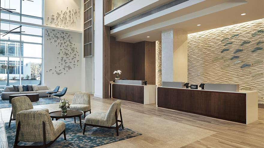 Lobby at Ocean Enclave by Hilton Grand Vacations located at Myrtle Beach, South Carolina.