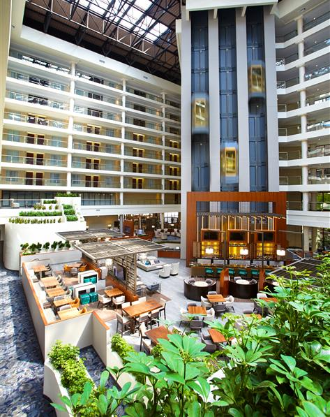Interior courtyard at The District by Hilton Club located in Washington, D.C.