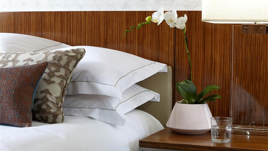 Bedside table in a bedroom at The District by Hilton Club located in Washington, D.C.