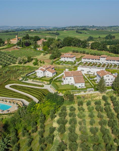 Aerial view of Hilton Grand Vacations at Borgo alle Vigne located at Selvatelle, Pisa, Italy.
