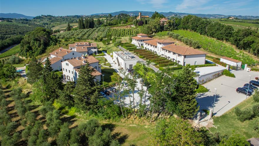 Aerial view of Italian countryside and Hilton Grand Vacations at Borgo alle Vigne located at Selvatelle, Pisa, Italy.