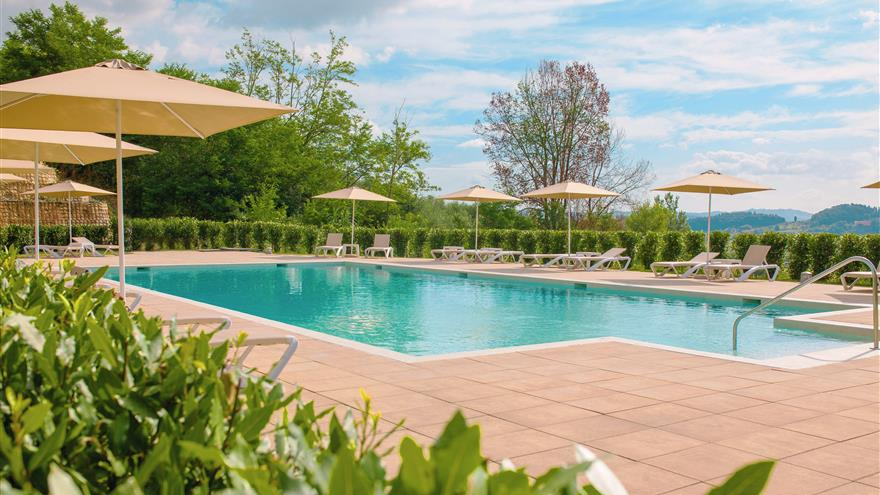 Pool at Hilton Grand Vacations at Borgo alle Vigne located at Selvatelle, Pisa, Italy.