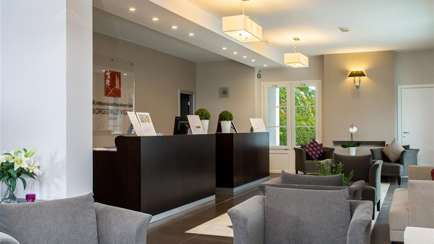 Lobby at Hilton Grand Vacations at Borgo alle Vigne located at Selvatelle, Pisa, Italy.