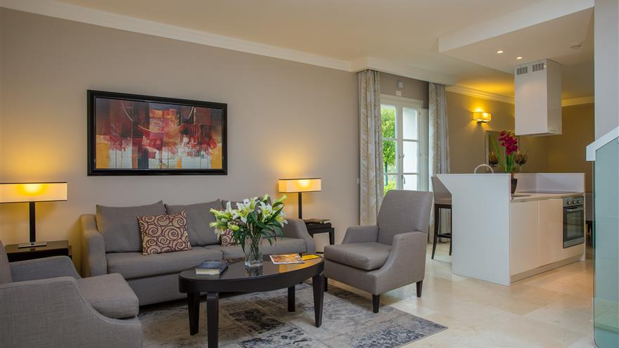 Living area at Hilton Grand Vacations at Borgo alle Vigne located at Selvatelle, Pisa, Italy.