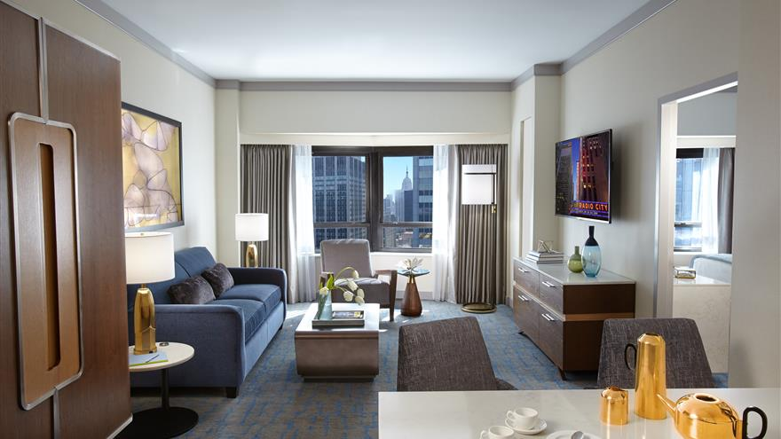 Living area at The Residences by Hilton Club located in New York City.