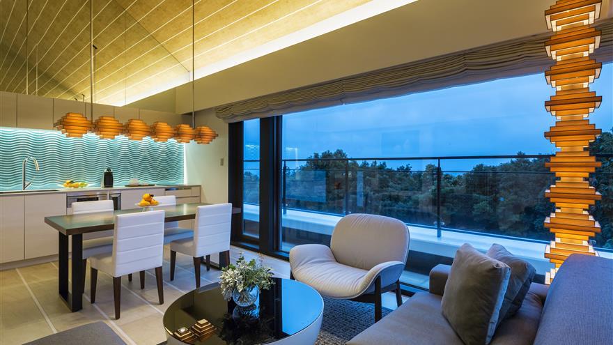Dining and living room with a view at The Bay Forest Odawara by Hilton Club located at Odawara-shi, Kanagawa, Japan.