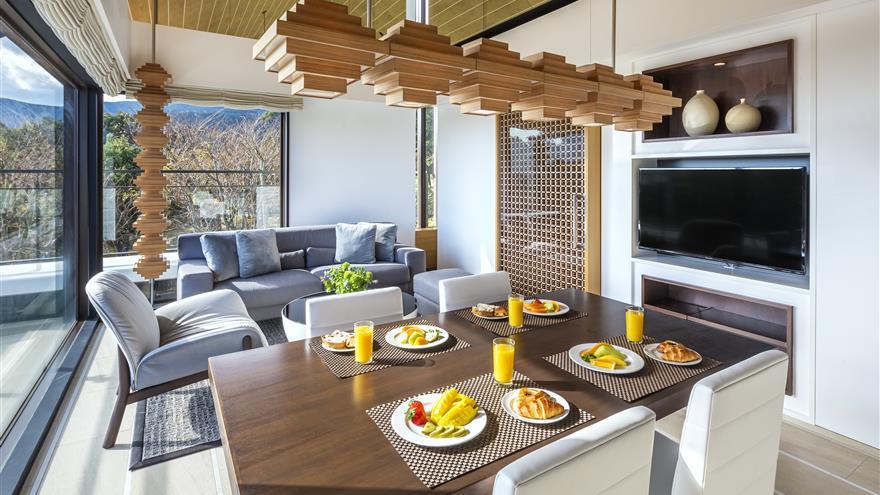 Dining area and living area at The Bay Forest Odawara by Hilton Club located at Odawara-shi, Kanagawa, Japan.