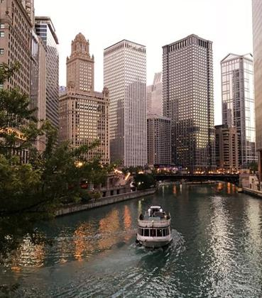 Boat ride through downtown Chicago
