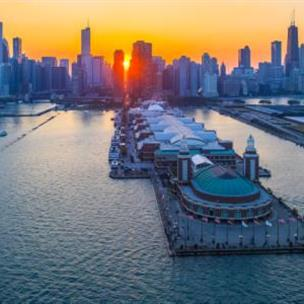 View of downtown Chicago at sunset