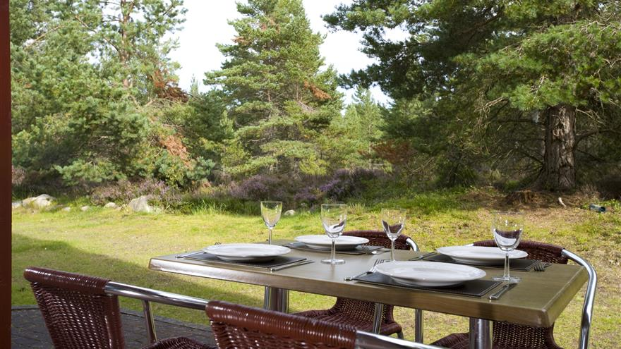 Outdoor patio set for lunch at Hilton Grand Vacations at Coylumbridge located at Aviemore, Scotland, U.K.