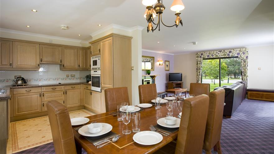 Kitchen, dining and living area at Hilton Grand Vacations at Coylumbridge located at Aviemore, Scotland, U.K.