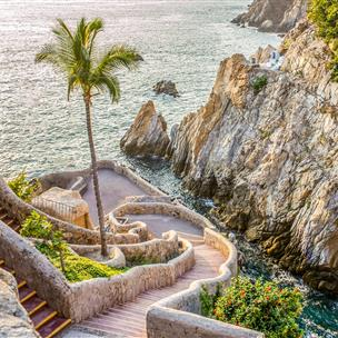 Winding cliffside path down to the beach