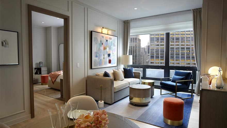 Living room at The Residences by Hilton Club located in New York City.