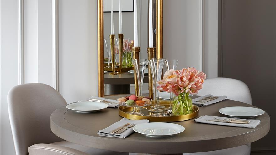 Dining area at The Residences by Hilton Club located in New York City.