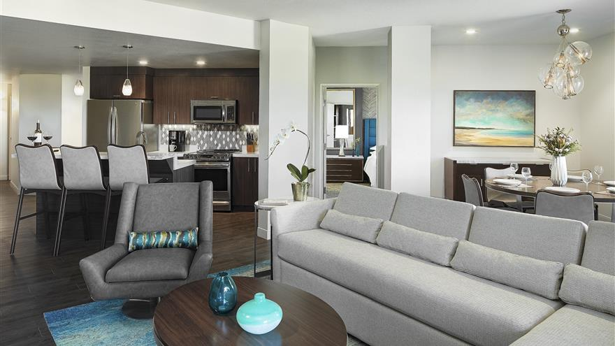 Living room at Hilton Grand Vacations at MarBrisa located in Carlsbad, California.