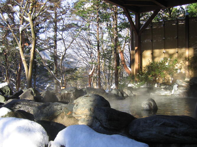 Hot springs with the view of the forest at Hotel Harvest Kinugawa located at Nikko, Tochigi, Japan.