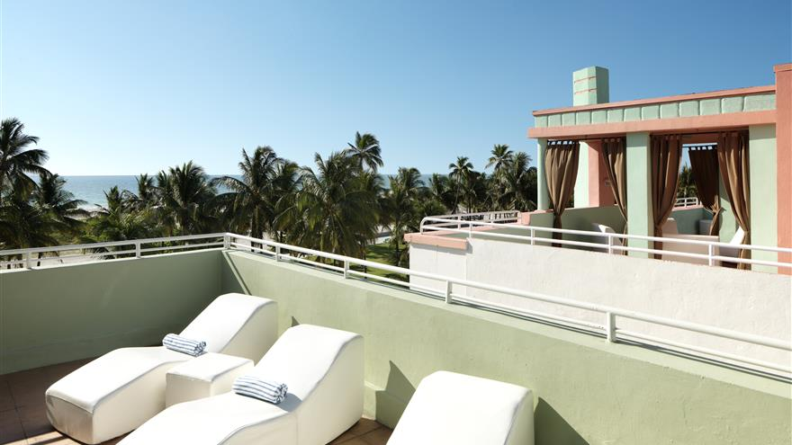 Rooftop of Hilton Grand Vacations at McAlpin-Ocean Plaza located in Miami, Florida.