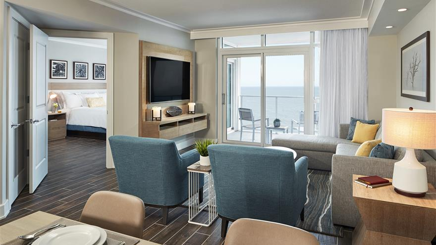 Living room at Ocean Enclave by Hilton Grand Vacations located at Myrtle Beach, South Carolina.